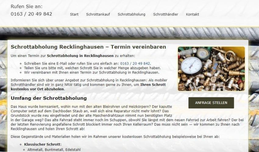 Schrottabholung Recklinghausen (Sonstige Veranstaltung | Recklinghausen)