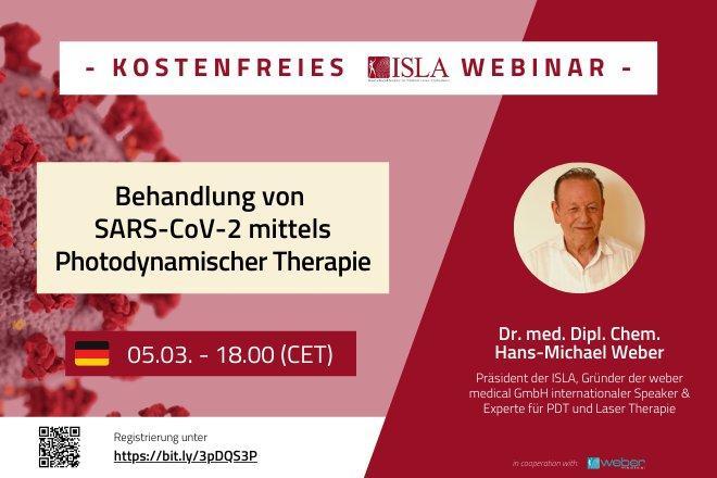 KOSTENFREIES ISLA WEBINAR: Behandlung von SARS-CoV-2 mittels Photodynamischer Therapie (Webinar | Online)