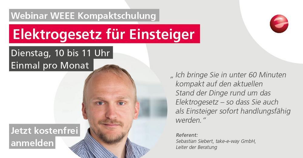 WEEE Kompaktschulung: Elektronikgerätegesetz für Einsteiger / Mit Update zur Abfallrahmenrichtlinie (Webinar | Online)