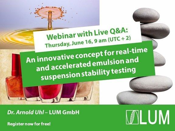 Webinar: An innovative concept for real-time and accelerated emulsion and suspension stability testi (Webinar | Online)