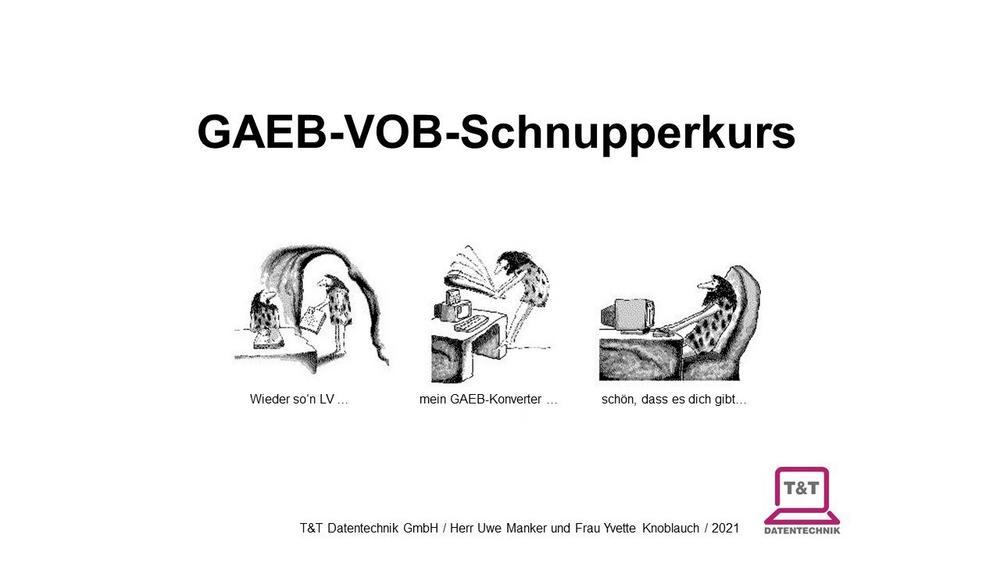 Online-GAEB-VOB-Schnupperkurs 03.09.2021 (Vortrag   Online)
